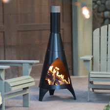 Steel Chimenea Heating Cooking Outdoor Decor Home Fire Pit Contemporary Style