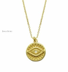 14K Gold 0.01 Ct. Genuine Diamond Evil Eye Disc Pendant Necklace Fine Jewelry