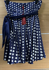 Monsoon Size 14 Marguerite Silk Skirt Blue White Polka Dot Circle Bnwt