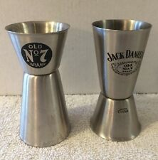 """2~Jack Daniels Old No 7 Brand Double Sided 3 1/2"""" Shot Glasses Stainless Steel"""