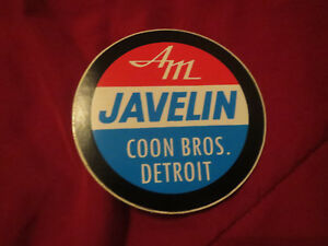 AMC AMERICAN MOTORS JAVELIN COON BROTHERS DETROIT MICHIGAN DECAL STICKER 4 INCH