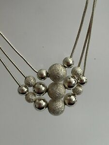 Vintage 925 Silver Multi Strand Snake Chain & Bead Necklace Chain 20 Inch 15.9g