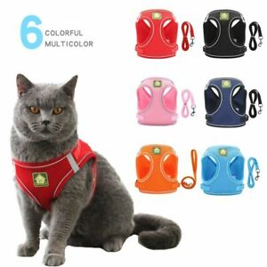 Pet Reflective Vest Harness with Lead Leash for Dog Puppy Cat Kitten XS-XL