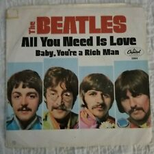 Beatles ‎– All You Need Is Love w/ Baby You're A Rich  Man 45 w/ Picture Sleeve