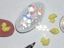 2 Miniature Dollhouse Rubber Ducky charm locket tiny bath little mini duck soap