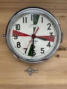 Vintage Artemis Turquoise 30 Day Wind Up Japanese Radio Room Marine Wall Clock