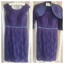Mascara Mother Of Bride Lace Dress Suit Weddings/Races/Occasions Size 14 Purple