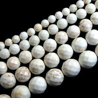 White Natural Turquoise Gemstone Faceted Round Beads 15.5'' 6mm 8mm 10mm 12mm
