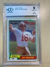 1981 Topps Football #216 Joe Montana RC Rookie HOF BGS 9 NEAR MINT OR BETTER