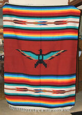 large 5'x7' Mexican Blanket Throw Thunderbird Rusty Brown Center Rainbow Stripes