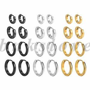 8pcs Women Men Stainless Steel Huggie Hinged Hoop Dangle Ear Earrings 7mm-14mm