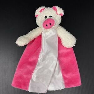 First Friends White Pig Baby Lovey Pacifier Holder Satin Pink Security Blanket