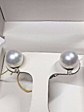 PEARL + DIAMOND EARRINGS SET IN 14 K  WHITE GOLD         $ 450.00