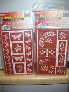 Lot of 2 - Armour Reusable Stencils - Butterflies/Berries - Unopened/Open