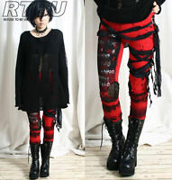 Ultra Long Goth Punk Rocker Grunge Mummy Bandage Raggedy Tie Dye Leggings/Pants