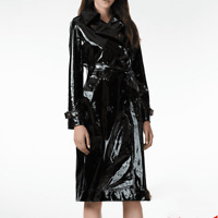 Women British Patent Leather Mid Long Jacket Parka Outwear Lapel Trench Coat New