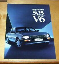 PEUGEOT 505 V6 SALES BROCHURE 1986 1987 Model Year Peugeot UK Publication