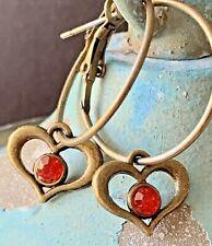 Dangle Heart Earrings. Love. Romance. Beautiful Bronze Lever Back Hoops
