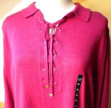 Chaps Desert Pink Collared Sweater Top, Long Sleeve Linen/Cotton  Sz XL.
