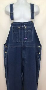 Mens Big Smith 50x32 Cotton Denim Blue Relaxed Fit Bib Overalls