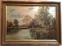 Vintage Oil Painting Country Scene Cottages By River Lake Framed