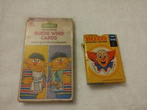 Whitman 1978 Sesame Street See And Know Guess Who Flash Cards and Bozo card game