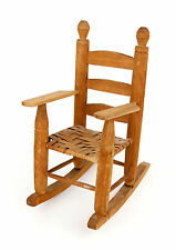 "Vintage 1973 Primitive Country Handmade Split-Wood Woven Doll Rocker Chair 13"""