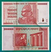 Zimbabwe 20 Trillion Dollars Banknote AA 2008 Almost UNC ~ Series 100 Trillion