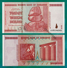 Zimbabwe 20 Trillion Dollars Banknote AA 2008 Almost UNC ~ Series 100 Trillion
