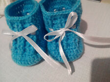patucos bebe crochet 0-3 meses lana AZUL, suela 8,5 cm   zapatillas calzado