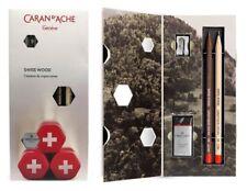 Swiss Wood Caran D'ache Pencil Gift Set HB Graphite Pencils, Eraser & Sharpener