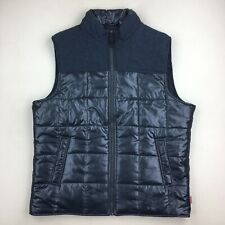 NWT $70 Blue Gray Quilted Puffer Vest Full Zip Outdoor Camping Hiking Size L