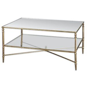 Iron And Gold Leaf Two Tier Coffee Table