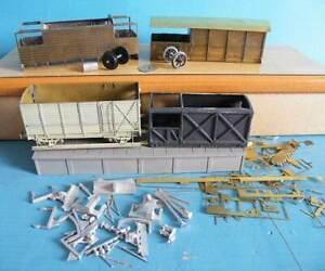 Unknown Make Brass & White Metal 4mm Kit Built Brake & Box Vans Spares or Repair