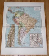 1912 MAP OF SOUTH AMERICA / ARGENTINA BRAZIL COLOMBIA / BUENOS AIRES LA PLATA
