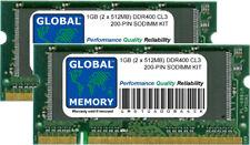 1GB (2 x 512MB) DDR 400MHz PC3200 200-Pin SODIMM KIT MEMORIA RAM per Laptop