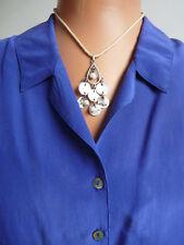 "Avon pendant of shell discs & faux pearls, cream cotton cord, measures 45cm,18"""