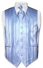 Men's Dress Vest & NeckTie BABY BLUE Color Woven Striped Design Neck Tie Set