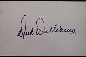 Dick Williams Manager Padres '82-85 (d.11) HOF Autograph 3x5 Index Card JSA 17D
