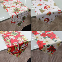 Home Decorative Christmas Santa Claus Tapestry Poinsettia Table Runner 14x71""