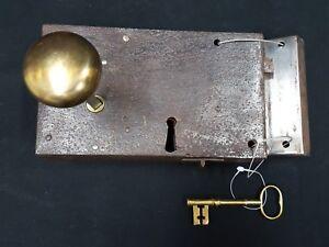 COMPLETE HARD WOOD RECLAIMED ANTIQUE EARLY 1900s PAIR RIM LOCK DOOR HANDLES