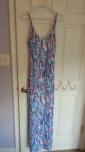 NWT New Lilly Pulitzer Sailboats Red Right Return Palm Maxi Dress Extra Small XS