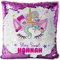 Unicorn Face Sequin Magic Cushion Personalised Reveal Cover Birthday Gift MC023