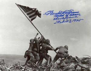 HERSHEL WILLIAMS SIGNED 11x14 PHOTO MEDAL OF HONOR IWO JIMA WWII MOH BECKETT BAS