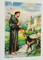 Saint Francis of Assisi with the Wolf from Gubbio Image,New from Italy