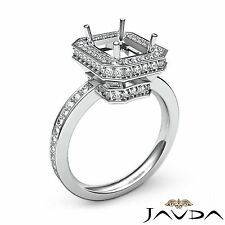 Halo Pave Set Diamond Engagement 0.89Ct Ring 14k White Gold Emerald Semi Mount