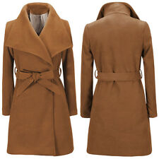 Women Winter Warm Lapel Wrap Coat Long Jacket Lady Trench Parka Outwear Overcoat
