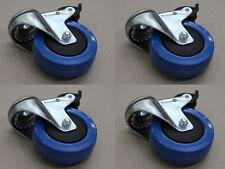Four 100m diameter blue rubber swivel castors wheels with bolt hole and brake