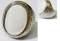 bague style bijou vintage chevalière couleur argent nacre naturel taille 52 ring