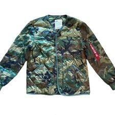 Alpha Industries Camo Quilted Bomber Jacket Size Medium
